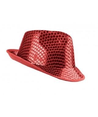 chapeau borsalino sequins rouge