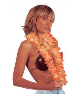 Collier Hawaien à grosses fleurs orange et blanc
