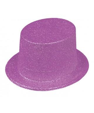 Chapeau Haut de forme pailleté  Fluo violet