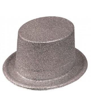 Chapeau Haut de forme pailleté  Fluo argent