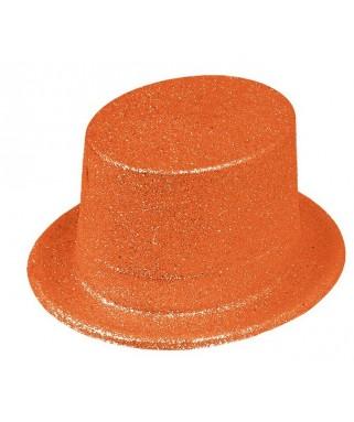 Chapeau Haut de forme pailleté Fluo orange