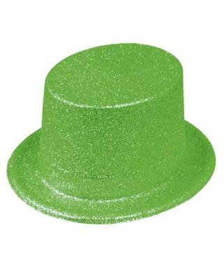 Chapeau Haut de forme pailleté fluo vert