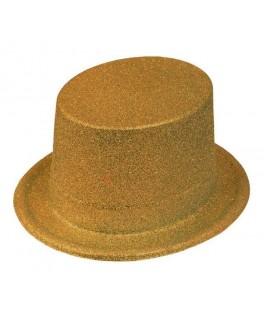 Chapeau Haut de forme pailleté Or