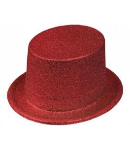 Chapeau Haut de forme pailleté Rouge