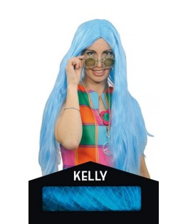 Perruque Kelly Fluo turquoise - Boite