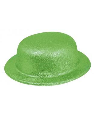 Chapeau Melon pailleté  Fluo vert