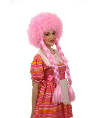 Perruque Afro rose à tresses