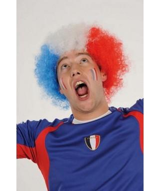 Perruque de Supporter tricolore Bleu Blanc Rouge
