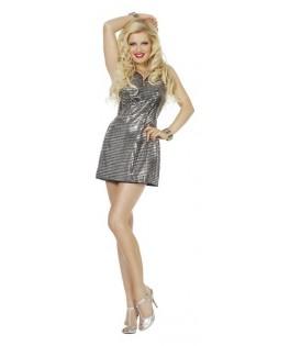 déguisement robe paillettes disco argent