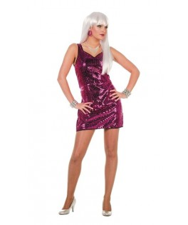 déguisement robe paillettes disco fushia