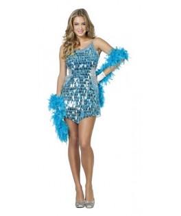 deguisement robe paillettes aqua disco femme