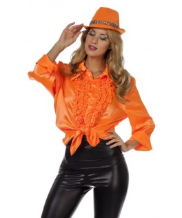 deguisement chemise ruche disco orange