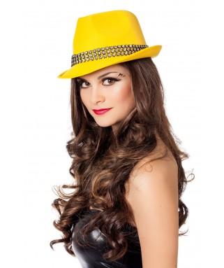 Chapeau Borsalino Fluo jaune avec pierres mixte