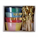 Kit de 48 moules pour cupcakes Happy Birthday