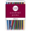 550 Pics à cocktail en plastique multicolores