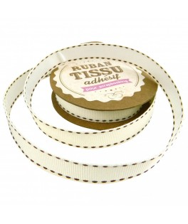 ruban tissu ivoire marron chocolat
