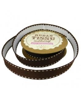 ruban tissu marron chocolat ivoire