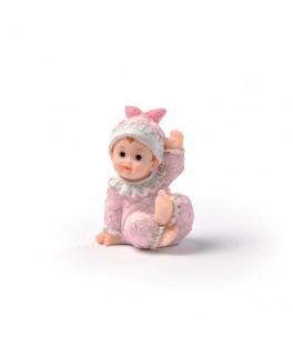 figurine-bapteme fille rose