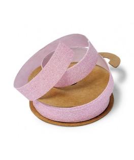 Ruban tissu paillettes rose