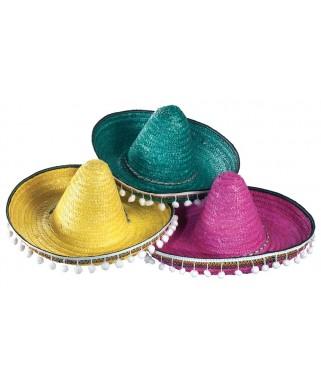 Chapeau Mexicain Sombrero 3 couleurs enfant