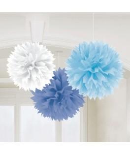 3 Pompons papier bleu & blanc