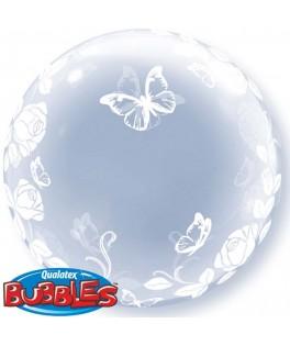 ballon deco bubble roses et papillons