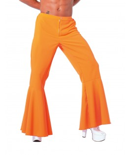 deguisement homme pantalon hippie fluo orange