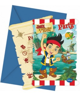 Invitations anniversaire Jake et les Pirates  x6