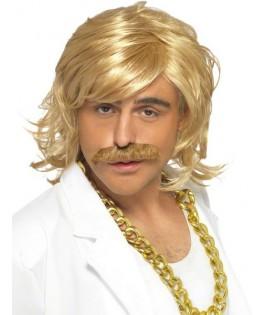 Perruque et moustache blonde Disco Présentateur TV