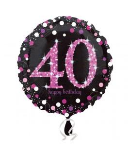 ballon chiffre 40 alu pois roses