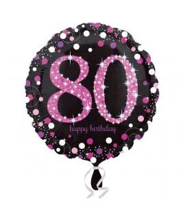 ballon chiffre 80 alu pois roses