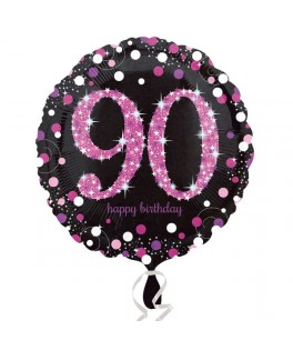 ballon chiffre 90 alu pois roses