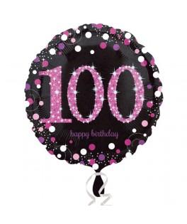 ballon chiffre 100 alu pois roses