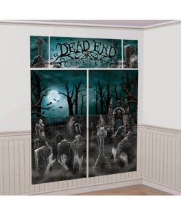 kit de decoration murale cimetiere halloween