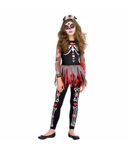 deguisement fille squelette jour des morts halloween