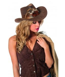 Chapeau de cowboy a plumes