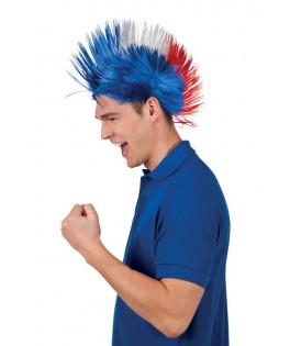 perruque supporter punk tricolore