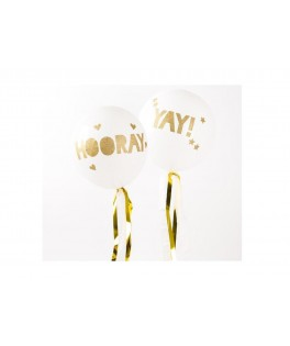 ballons confettis blanc or
