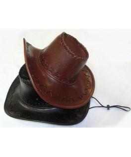 chapeau  cowboy brun look cuir