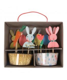 Kit moules pour cupcakes Lapin de Pâques
