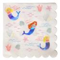 16 Grandes serviettes en papier Sirène 33 cm