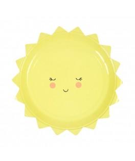 assiettes jaunes soleil anniversaire naissance