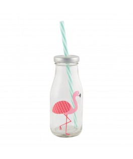Mini bouteille de lait Tropical Flamand rose
