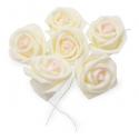 6 Roses à piquer en mousse ivoire