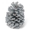 Pomme de pin paillettes argent 12 cm