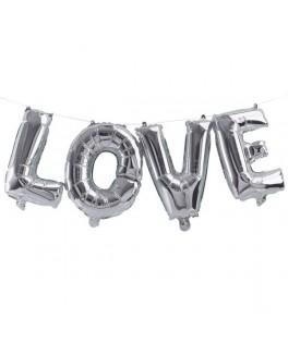 Ballon Love métallisé argent