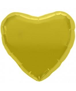 Ballon coeur métallisé or