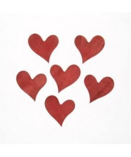 6 Coeurs rouges en bois