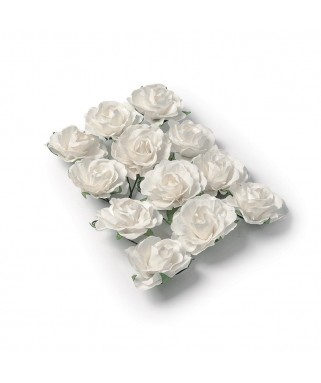 fausses roses a piquer blanche