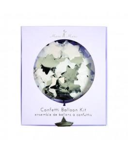 ballons confettis etoiles argent